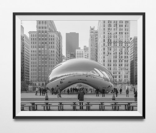 Chicago Photography, Chicago The Bean Print, Cloud Gate Chicago, Black And White Chicago, Black And White Wall Art, Architecture, America by Vibrant Imaging