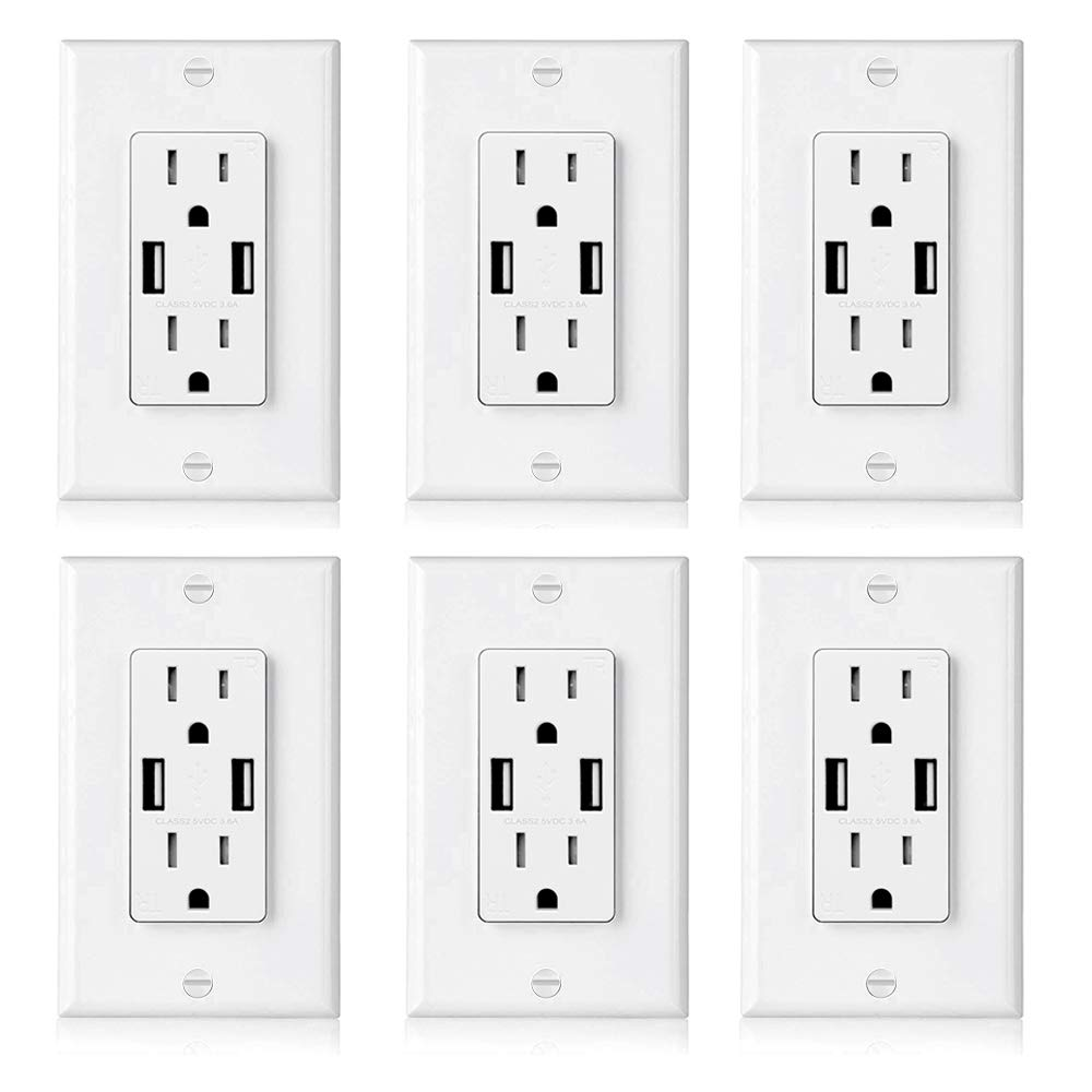 [6 Pack] BESTTEN USB Outlet Receptacle, Dual 3.6A High Speed USB Wall Charger, 15A Electrical Outlet with USB Port, Tamper Resistant Duplex Receptacle, Decorator Wall Plate Included, UL Listed, White