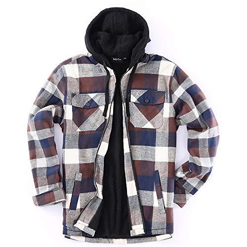 Golden Tree Men Full Zip Hoodie Flannel Jacket Sherpa Lined (XX-Large, L-Brown,Blue)