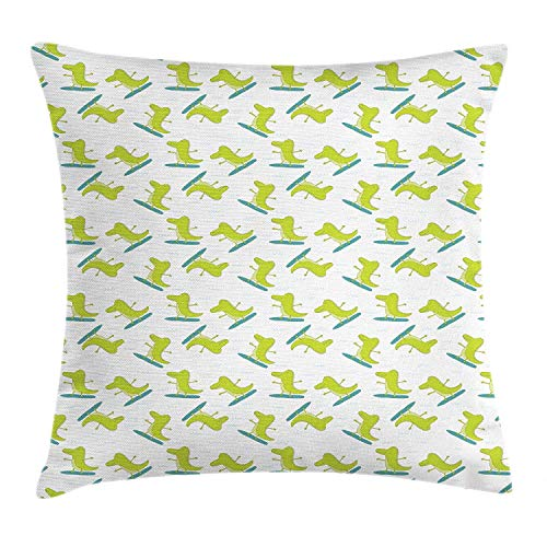 (Alligator Throw Pillow Cushion Cover, Cartoon Illustration of a Surfer Crocodiles with Funny Happy Faces, Decorative Square Accent Pillow Case, 18 X 18 inches, Pale Green Teal and White)