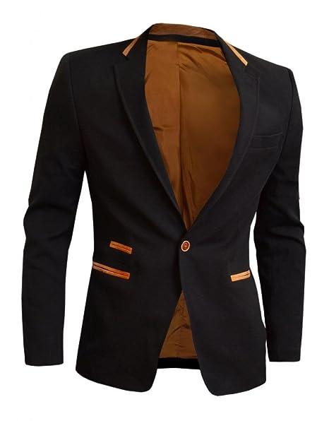 D&R Fashion para hombre Moda Casual chaqueta Blazer Negro Slim Fit con la venta del codo