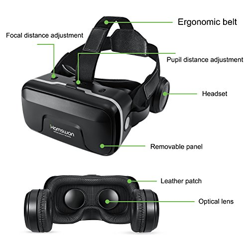 3D VR Glasses, HAMSWAN 3D VR Goggles VR Headset Virtual Reality Goggles Headset Glasses with Built-in Headset, Unique Design and Multifunction Button Compatible with Smartphones within 4.0-6.0 inch by HAMSWAN (Image #1)