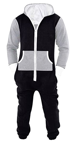 SkylineWears Men s Unisex Onesie Jumpsuit One Piece Non Footed Pajama  Playsuit Black-Gray S 046196f35
