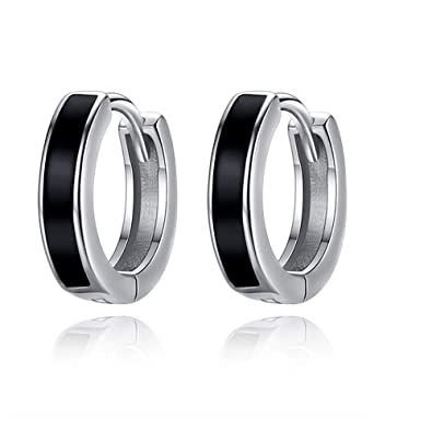 925 Sterling Silver Mens Earrings Black Small Hoop Earrings Hypoallergenic Huggies Earrings