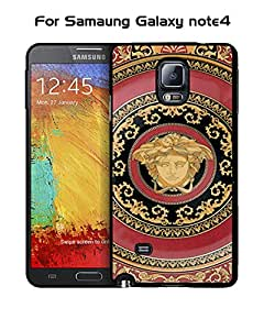 Versace Galaxy Note 4 Funda Case, Brand Logo Snap On Slim Ultra Thin High Impact Protector Solid Fit for Samsung Galaxy Note 4