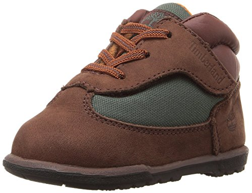 (Timberland Boys' Field Crib Bootie-K Hiking Boot, Brown/Green, 2 M US Infant)