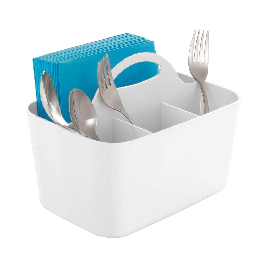 mDesign Plastic Cutlery Storage Organizer Caddy Bin - Tote with Handle - Kitchen Cabinet or Pantry - Basket Organizer for Forks, Knives, Spoons, Napkins - Indoor or Outdoor Use - White
