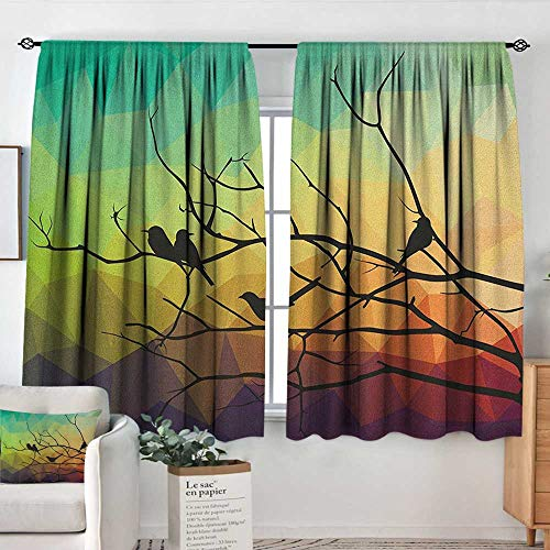Theresa Dewey Blackout Curtains Modern,Birds on Branch with Geometrical Abstract Rainbow Colored Sharp Lined Backdrop Print, Multicolor,Rod Pocket Curtain Panels for Bedroom & Kitchen 42