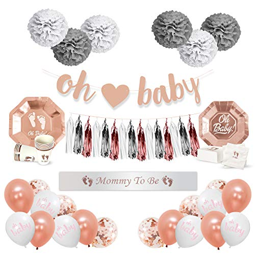 Baby Shower Decorations for Girl or Boy – OH Baby Party Supplies for 16 – Banner, Balloons, Plates, Cups, Napkins, Sash - Rose Gold Premium Collection - 115 Piece Kit