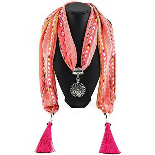 Ysiop Women Chiffon Geometric Scarf Necklace Vintage Bohemia Tassel Neckwear Pink 1