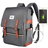 Vintage Laptop Backpack,15 inch Laptop Backpack Puersit Durable Business College Travel Daypacks (Grey)