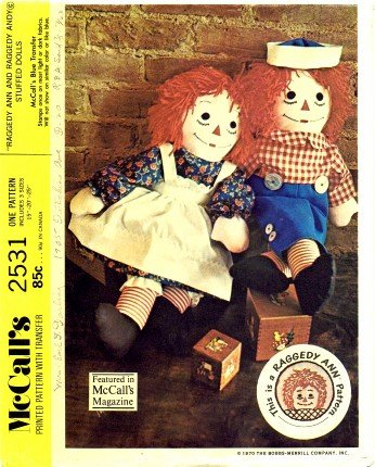 Amazon.com: McCall\'s 2531 Sewing Pattern Raggedy Ann and Andy ...