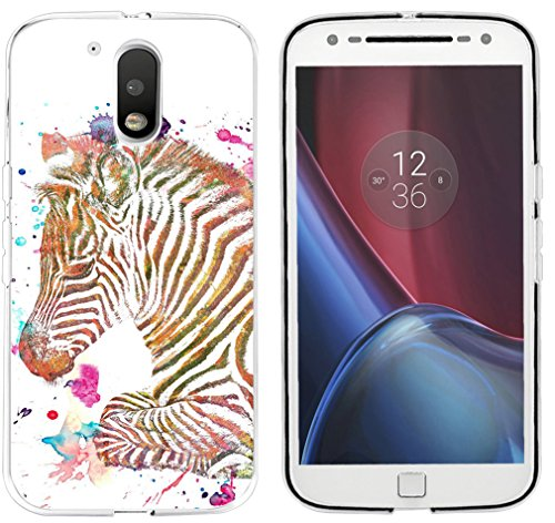 Moto G4 Case Zerba - CCLOT Protector Compatible for Motorola 4th Generation G4/G4 Plus Cover Protective Colorful Beautiful Little Zebra Animal Print (TPU Protective Silicone Cover)