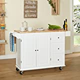 Kitchen Islands on Wheels Drop Leaf Utility Cart Mobile Breakfast Bar With Storage Drawers Towel and Spice Rack Bundle includes Bonus Kitchen Conversion Chart Magnet From Designer Home Kitchen (White)