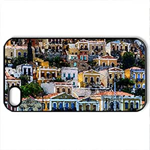 Beautiful Houses - Case Cover for iPhone 4 and 4s (Houses Series, Watercolor style, Black)