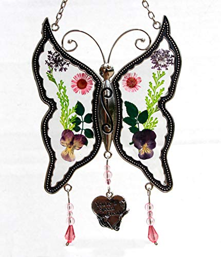 Special Friend New Butterfly Suncatchers Glass Friend Wind Chime with Pressed Flower Wings Embedded in Glass with Metal Trim Friend Heart Charm - Gifts for Friend -Friend for Birthdays Christmas ... -