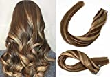 Bleaching Hair Brown To Blonde - SeaShine Tape in Hair Extensions #4P27 Medium Brown/Dark Blonde 100% Remy Human Hair Extensions Silky Straight for Fashion Women 20 Pcs/Package(16Inch #4P27 30g)