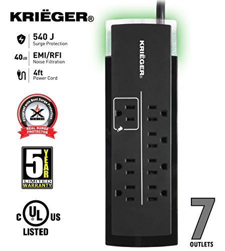 KRIËGER KR7540 - UL 1449 Advanced Fireproof Surge protector with X3 MOV Technology 7 Outlet Strip 4-Foot Cord 540 Joule 120V