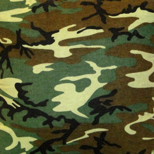(NuAngel Green Camo Cotton/Poly Flannel Fabric by the Yard - Made in America - 46