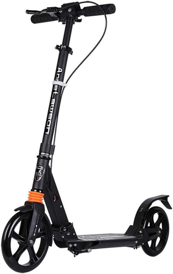 キックスクーター オールアルミ製アダルトペダルスクータービッグホイール2輪アダプター 持ち運びが簡単 (色 : ブラック) ブラック