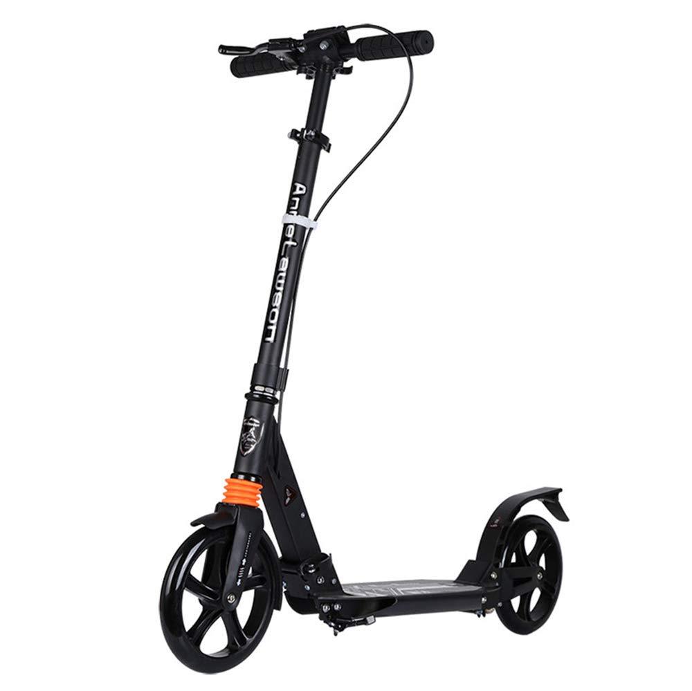 Bambini Che scalciano Scooter Scooter Adulto a Due Ruote per Scooter a Pedali Adulti Interamente in Alluminio Regolabile (colore   Nero)