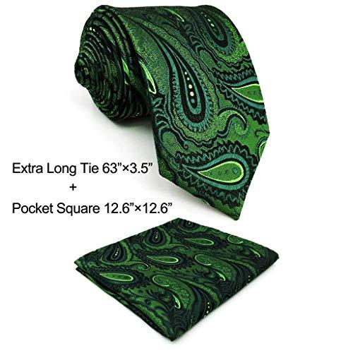 Shlax & Wing Long Size Mens Necktie Paisley Dark Green Silk Tie Wedding New Design
