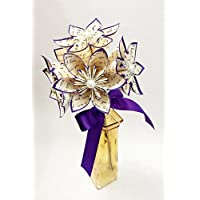 5 I Love You Paper Flowers- Ready to ship handmade gift, royal purple, anniversary gift, wedding decor, small bouquet, summer wedding