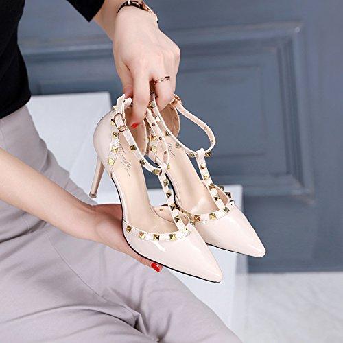L'Estate I da Moda HBDLH Shoes 8Cm seven Scarpe Sandali Scarpe Thirty 35 Lacca Colore Sandali Baotou Heeled Alla Albicocca donna High E Traspiranti qOw5Ipwa