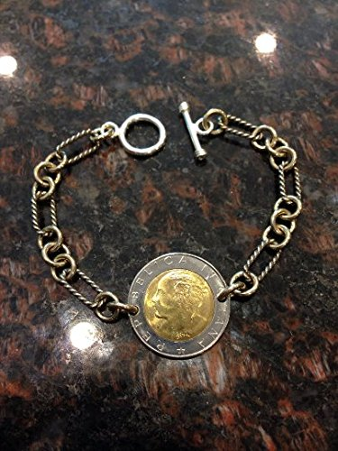 Italy 500 Lira two-toned coin bracelet with heavy chain and silver toggle clasp