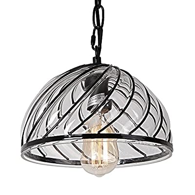 17601 1-Light Industrial Semi Circle Pendant Light with Glass Shade Rustic Retro Ceiling Lamp Edison Incandescent or LED Vintage Hanging Light Fixtures