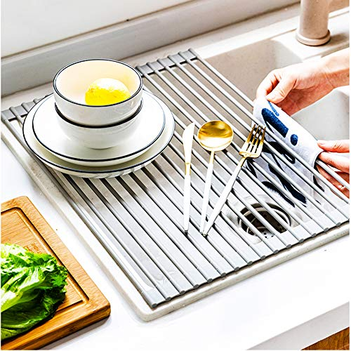 "Roll Up Dish Drying Rack 16.5""X13.8"" Over the Sink Stainless Steel Portable Dish Rack Dish Drainer over Sink Foldable Stainless Steel"