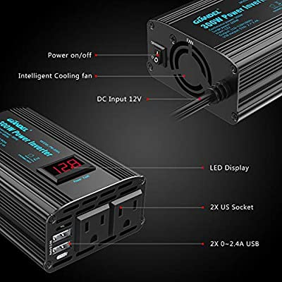 300W Power Inverter DC 12V to AC 120V Car Power Converter Adapter with 2x2.4A USB Ports and LED Display Dual AC Outlets: Car Electronics