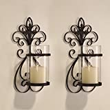 ELEGAN Cast Iron Vertical Wall Hanging Accents Candle Holder Sconce (Set of 2) (SD005)