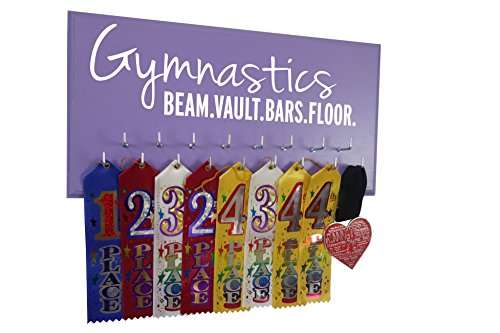 RunningontheWall Gymnastics Medal Display, Gymnast Medal Display Gymnastics Beam.Vault.Bars.Floor. Gymnastics Award Display, Gymnast Ribbon Hanger