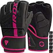 RDX MMA Gloves Grappling Sparring, Pre-Curved Martial Arts Mitts, Ventilated Palm, Maya Hide Leather Kara Cage