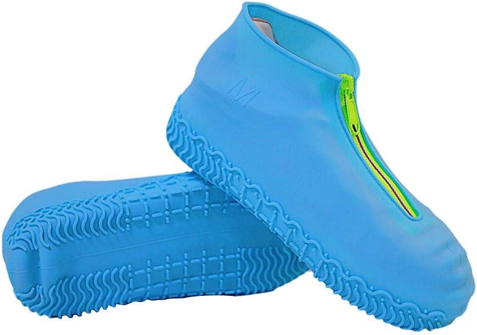 Cubrezapatos de silicona Impermeable Antideslizante Reutilizable Zapata de silicona con cremallera Cubrezapatos port/átiles Cubrebotas Botas de lluvia Cubrezapatos de silicona para hombres mujeres