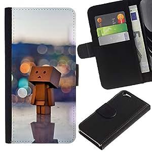 All Phone Most Case / Oferta Especial Cáscara Funda de cuero Monedero Cubierta de proteccion Caso / Wallet Case for Apple Iphone 6 // Toy 3D Figurine Art Big City Lonely Art Wood