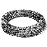 Festnight Razor Wire 13.8' 197 Feet Galvanized Steel Garden Fence Ribbon Barbed Wire