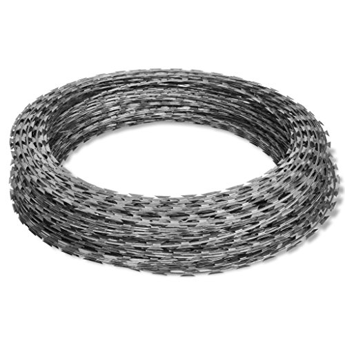 Festnight Galvanized Steel Razor Wire Garden Barbed Wire (Barbed Wire Wound)