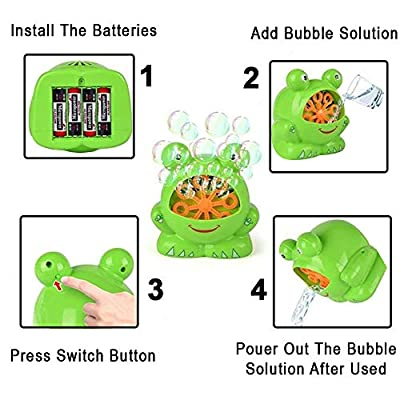 Toysery Frog Shaped Bubble Machine - Automatic Bubble Blower with Countless Colored Bubbles for Kids - Bubble Toy for Birthdays and Parties - Fantastic Bubble Blaster for Girls and Boys: Toys & Games
