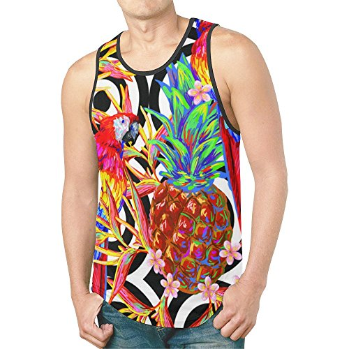 InterestPrint Parrot Pineapple Leaf Men's Tank Tops T-Shirt Gym Workout M (Parrot Print T-shirt)