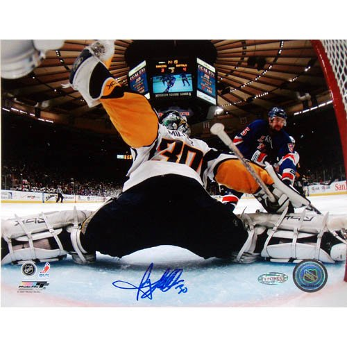 NHL Ryan Miller Goal Cam Kick Save Vs Rangers Autographed 8-by-10-Inch Photograph ()