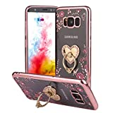 LLZ.COQUE for Samsung Galaxy S7 Edge Case Bling Rose Gold Floral Butterfly Pattern Crystal Clear Rhinestone Soft TPU Silicone Girls Case with Glitter Diamond Ring Stand Holder for Samsung S7 Edge