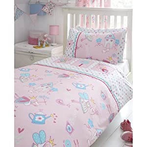 Fairy Garden Girls Embroidered Single Bed Duvet Cover Quilt Bedding Set Pink New