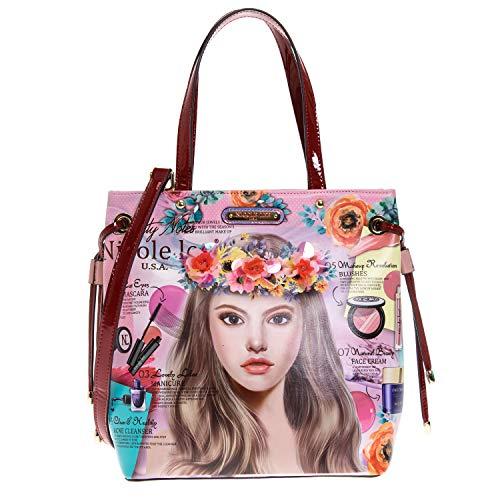 Floral Top Handle Tote Handbag with Detachable/adjustable Shoulder Strap