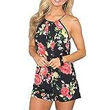 Relipop Women's Summer Floral Romper Casual Print Jumpsuit (Large, Black)