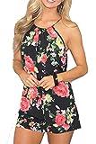 Relipop Women's Summer Floral Romper Casual Print Jumpsuit (Medium, Black)