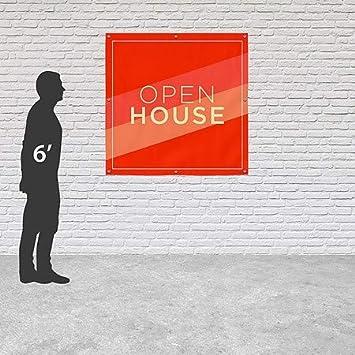 8x8 CGSignLab Open House Modern Diagonal Heavy-Duty Outdoor Vinyl Banner