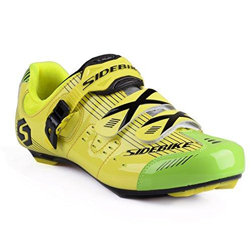 TXJ® Unisexo Zapatos de Bicicleta de Carretera (Elija un Tamaño Más Grande de lo Habitual) SD-003 Amarillo-Verde