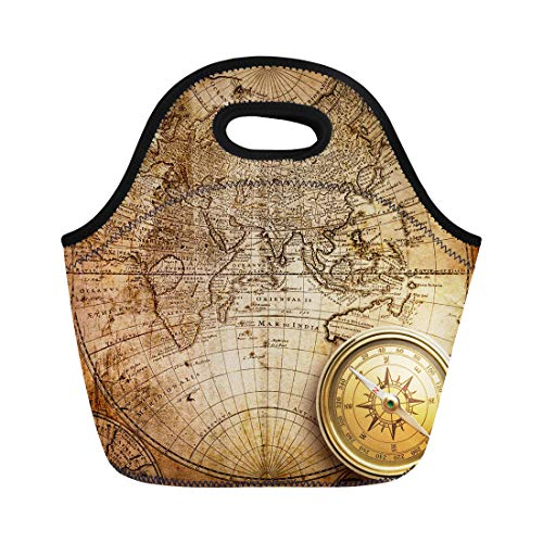 Semtomn Lunch Tote Bag Nautical Old Compass and Rope on Vintage Map 1746 Reusable Neoprene Insulated Thermal Outdoor Picnic Lunchbox for Men Women